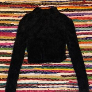 Fuzzy Black Cropped Short Turtle Neck Sweater
